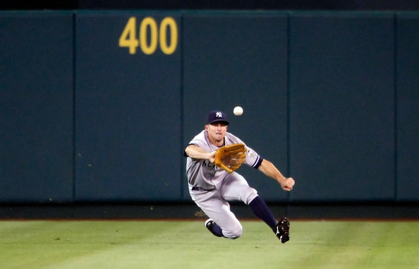 Brett Gardner laying out for a ball Jacoby Ellsbury could only dream of getting to