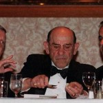 New York Yankees owner George Steinbrenner, left, baseball legend Yogi Berra, center, and Yankees manager Joe Torre talk over their meal at the 76th Annual dinner for the New York chapter of the Baseball Writers' Association of America Sunday, Feb. 7, 1999, in New York. (AP Photo/Lynsey Addario)