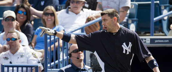 Chris Stewart got ejected for arguing a bang-bang play at first. Seriously. (AP Photo/The Canadian Press, Nathan Denette)