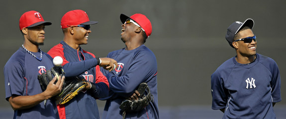 """Hey Robinson, how are your injured teammates doing?"" ""Hey Twins guys, how have you been doing in the ALDS?"" (AP Photo/Kathy Willens)"
