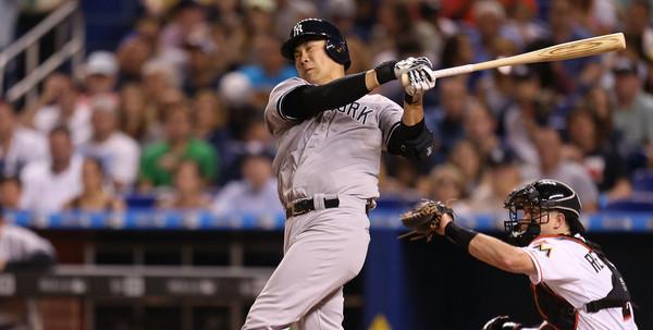 No bat today, Masahiro. (Rob Foldy/Getty)