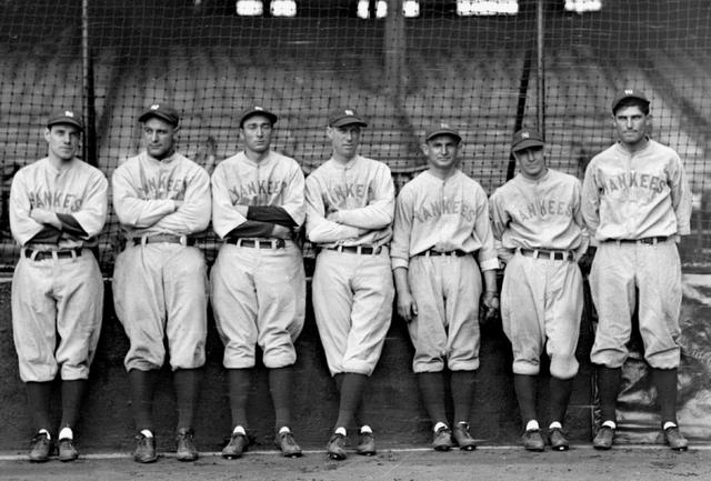 From left to right: Leo Durocher, Lou Gehrig, Tony Lazzeri, Joe Dugan, Benny Begough, Gene Roberston, and Mark Koeing in 1928. (NYDN)
