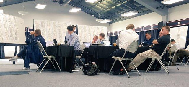 The draft war room in Tampa. (Pic via @YankeesOnDemand)