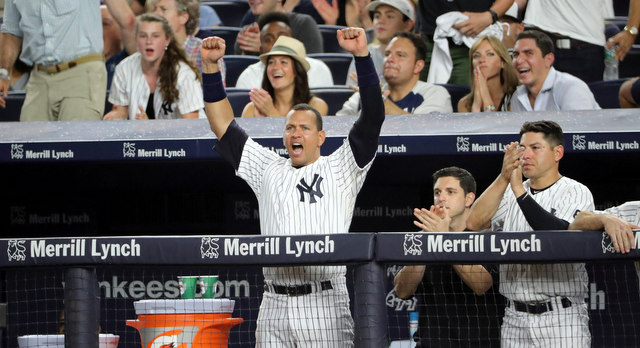 Aug 12, 2016; Bronx, NY, USA;  New York Yankees designated hitter Alex Rodriguez (13) reacts from the dugout as shortstop Didi Gregorius (18) and first baseman Mark Teixeira (not pictured) score during the fourth inning against the Tampa Bay Rays at Yankee Stadium. Mandatory Credit: Anthony Gruppuso-USA TODAY Sports