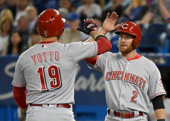 Votto and Cozart. (Dan Hamilton/USA TODAY Sports)
