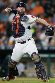 McCann't throw. (Bob Levey/Getty)