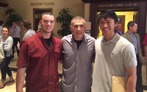 San Diego natives Ian Clarkin and Gosuke Katoh stopped by the Winter Meetings on Tuesday. (Photo via Ian Clarkin)
